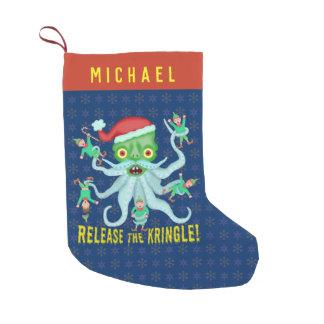 Grappige Kerstmis geeft Kringle de Kerstman vrij Kleine Kerstsok