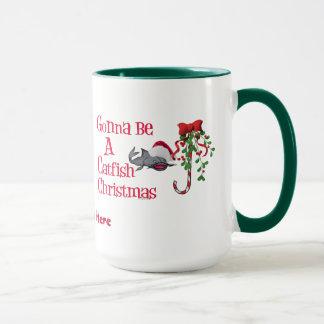 Grappige Kerstmis van de Katvis van de Visserij Mok
