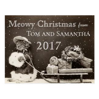 Grappige Kerstmis van de Vintage Kat van Kerstmis Briefkaart