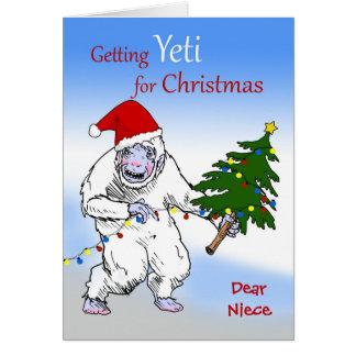 Grappige Kerstmis voor Nicht, bent u nog Yeti? Briefkaarten 0