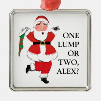 grappige Kerstmis Zilverkleurig Vierkant Ornament
