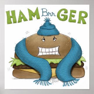 Grappige Koude Hamburger Poster