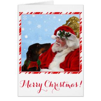 Grappige, leuke Doberman hond, de Kerstkaart van Kaart