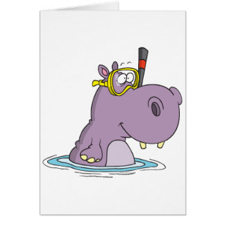 grappige leuke het snorkelen het zwemmen hippo briefkaarten 0