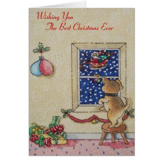 Grappige leuke puppy en van Kerstman ar Briefkaarten 0