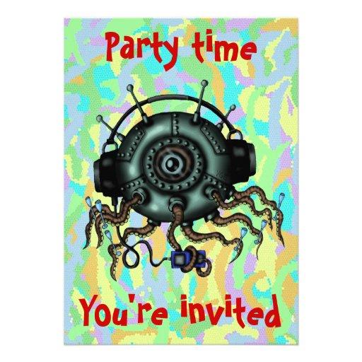 Grappige leuke vreemde de partijuitnodiging van de persoonlijke uitnodigingen