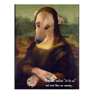 Grappige Mona Lisa Dog Meme Picture Briefkaart