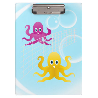 Grappige octopies die volleyball spelen klembord