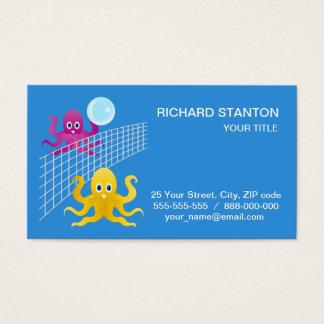 Grappige octopies die volleyball spelen visitekaartjes