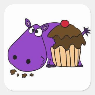 Grappige Paarse Hippo die Cupcake eten Vierkante Sticker