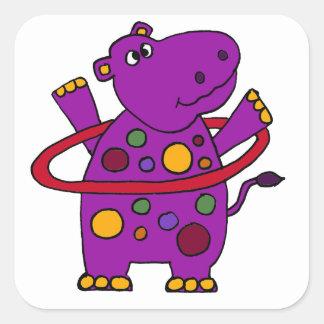 Grappige Paarse Hippo die Hoepel Hula spelen Vierkante Sticker
