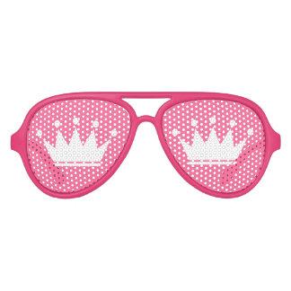 Grappige roze partijschaduwen met prinseskroon aviator zonnebril