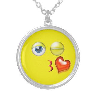 Grappige Slag een Kus Emoji Smiley Zilver Vergulden Ketting