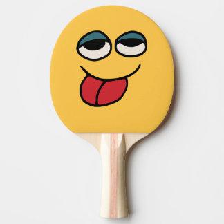 Grappige Smiley die de Knuppel van de Pingpong Tafeltennis Bat