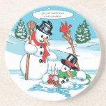 Grappige Sneeuwman met de Hete Cartoon van de Choc Onderzetter