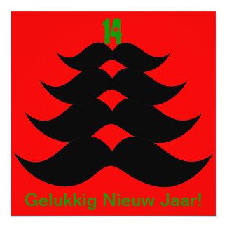 Grappige Snor kerstboom Kerstkaart 13,3x13,3 Vierkante Uitnodiging Kaart
