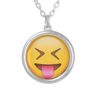 Grappige Sociale Emoji Zilver Vergulden Ketting