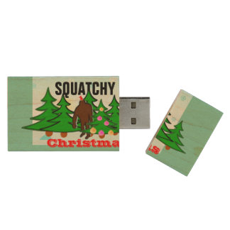 Grappige Squatchy Kerstmis Bigfoot Houten USB Stick