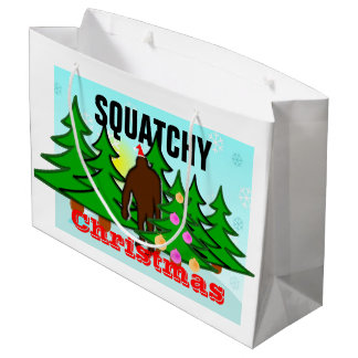 Grappige Squatchy Kerstmis Plakkerige Bigfoot Groot Cadeauzakje