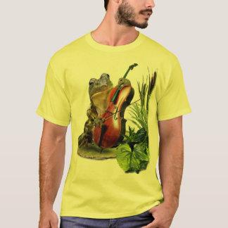 Grappige T-shirt met kikker het spelen cello