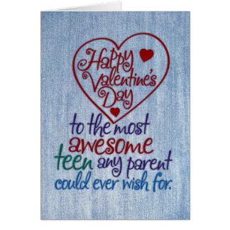 Grappige Valentijnsdag aan Tiener van Ouder Briefkaarten 0
