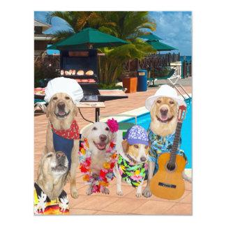 Grappige van Honden Klantgerichte van de Pool 10,8x13,9 Uitnodiging Kaart
