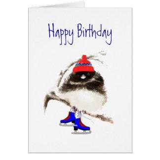 Grappige Verjaardag aan het Schaatsen Kuiken, de Wenskaart