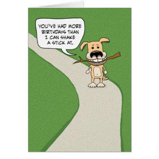Grappige verjaardag: De Schok van de hond een Stok Briefkaarten 0