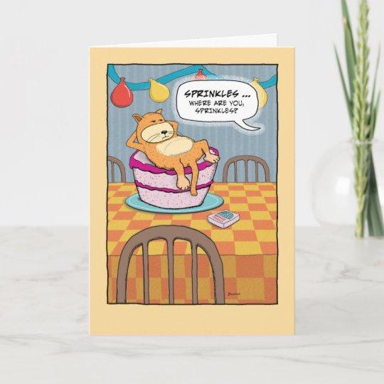 Grappige Verjaardag Kat Op Cake Kaart Zazzlenl