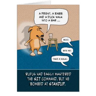 Grappige Verjaardag: Standup Grappige Hond Briefkaarten 0