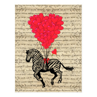 Grappige vintage zebra & hartballons briefkaart