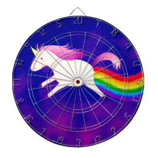 Grappige Vliegende Eenhoorn Farting een Regenboog Dartbord