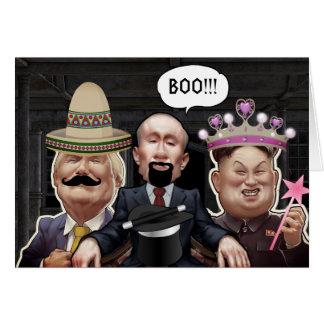 Grappige Wereldleiders in Kostuum Halloween Kaart