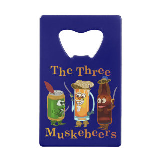 Grappige Woordspeling Drie van het Bier Muskebeers Creditkaart Flessenopener