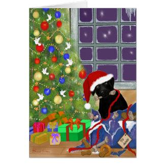 Grappige, Zwarte Kerstmis van Labrador Briefkaarten 0