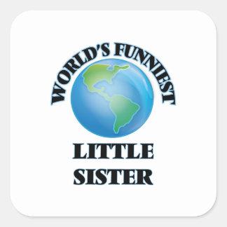 Grappigste wereld Weinig Zuster Vierkante Stickers