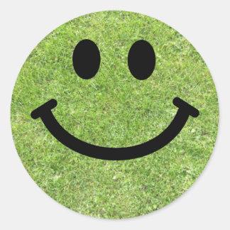 Gras Smiley Ronde Sticker