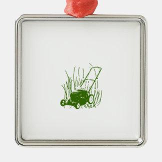 Grasmaaimachine Zilverkleurig Vierkant Ornament