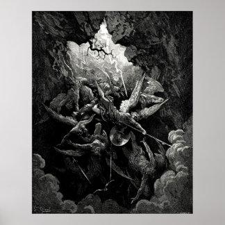 Gravure van de Hel van Gustave Doré Milton de Para Poster