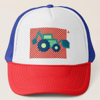 Green backhoe, cute, minimalist, flat design trucker pet