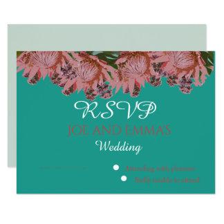 Greens en pinks van Wildflower Huwelijk RSVP Kaart