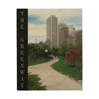 """Greenway in de Zomer"" Boston, doctorandus in de Hout Afdruk"