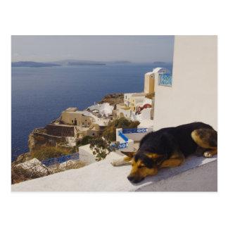 Griekenland, Santorini Eiland, Oia Stad, de slaap Briefkaart