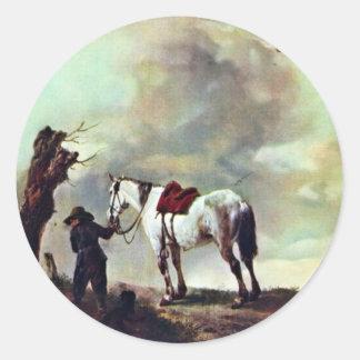 Grijs., door Philips Wouwerman (Beste Kwaliteit) Ronde Sticker