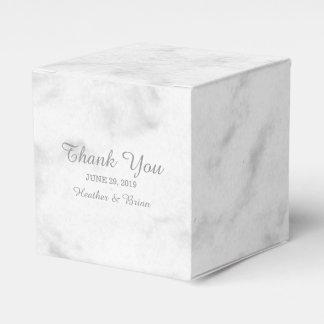 Grijs Elegant Marmeren Huwelijk Bedankje Doosje