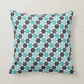 Grijs en aqua blauw geometrisch hexagon patroon sierkussen