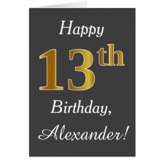 Grijs, Gouden 13de Verjaardag Faux + De Naam van Briefkaarten 0