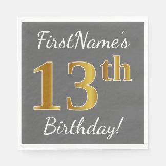 Grijs, Gouden 13de Verjaardag Faux + De Naam van Papieren Servet