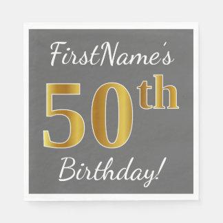 Grijs, Gouden 50ste Verjaardag Faux + De Naam van Papieren Servetten