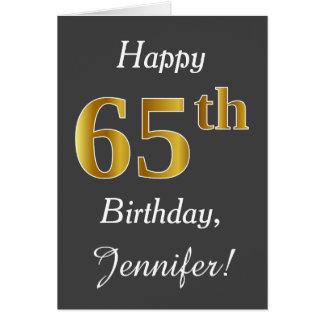 Grijs, Gouden 65ste Verjaardag Faux + De Naam van Briefkaarten 0